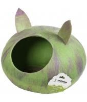 """Домик """"Уютное гнездышко"""" с ушками (шерсть, форма круг, мультиколор салатовый)"""