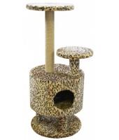 Когтеточка дом для кошки Пушок Круглый со ступенькой на ножках