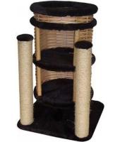 Пушок Домик для кошки Двухэтажный с плетеными стенами